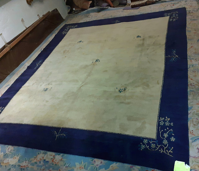 Tibetan Rug in Chinese Design, Blue & Cream