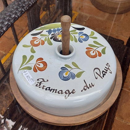 """French Majolica Cheese Plate, 11"""" Cover, Wooden Base"""