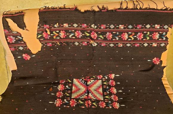 Antique Mexican Sarape, Natural Wool, Jocotepec, As-Is