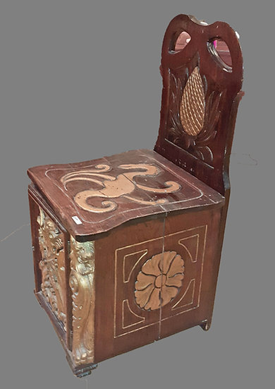 """Potty"" Chair to hold Chamber Pot, Carved Oak & Gilt Design"