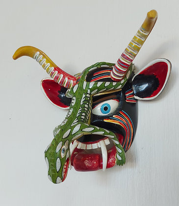 """Juan Horta Mask, '94.   Signed, Inscribed, 14"""" wide and 11"""" tall"""