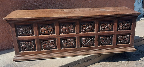"""Mexican Hand Carved Trunk, Baul, Blanket Chest, 62"""" long"""