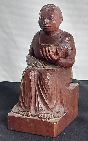 J. L. Hernandez Mahogany Figure of a Seated Woman, 1930's