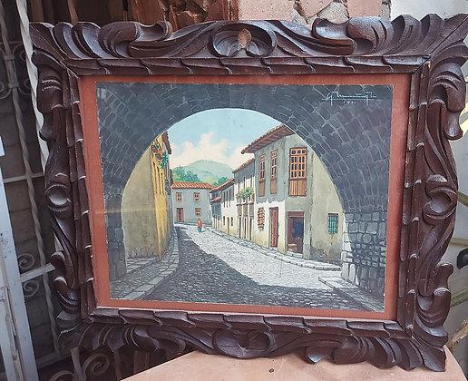 Mexican Street Scene, Guanajuato, Signed Muñoz, 1960