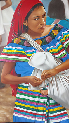 "David Villaseñor Mother and Child,  47.5"" x 71.5"" Original Painting"