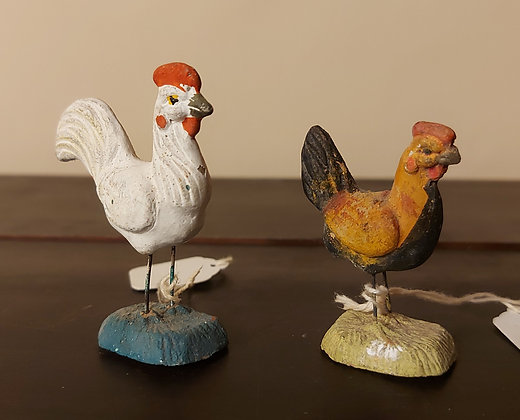 Two Clay Gallinas (Creche Figures of Chickens), Sold Separately