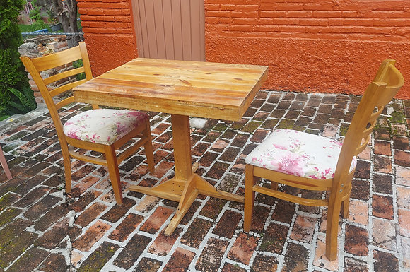 """Restaurant Table & 2  Floral Chairs, 31"""" x 23 1/2""""  Table"""