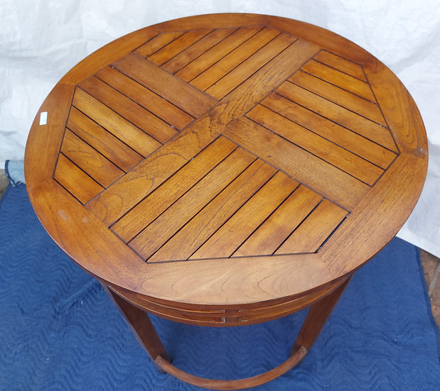 "Pair of Contemporary Teak Tables, 39 1/2"" tall"