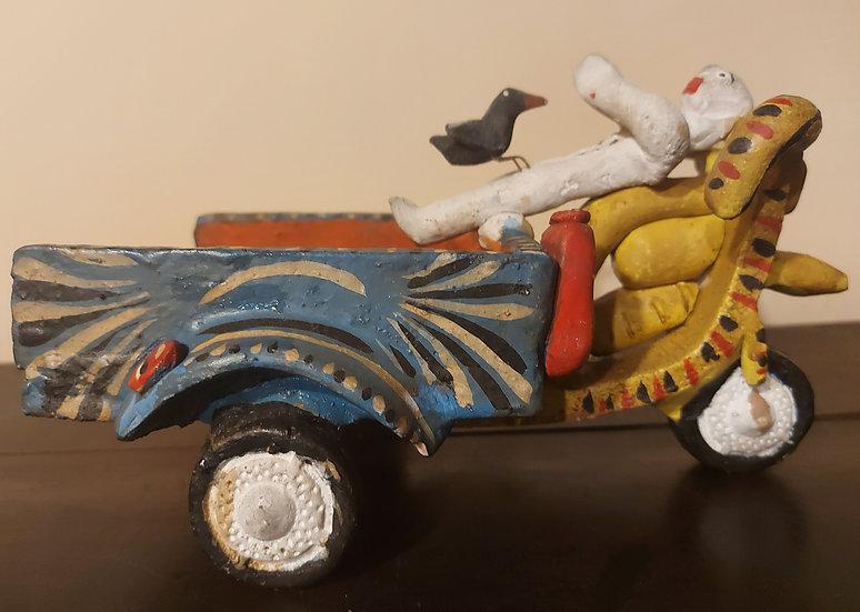 candelario-medrano-clay-figure-motorcycle-cart