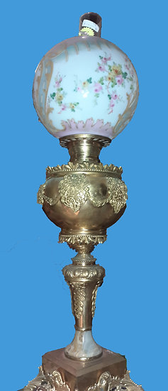 Antique Gilt Oil Lamp,  Enameled Shade, Electrified