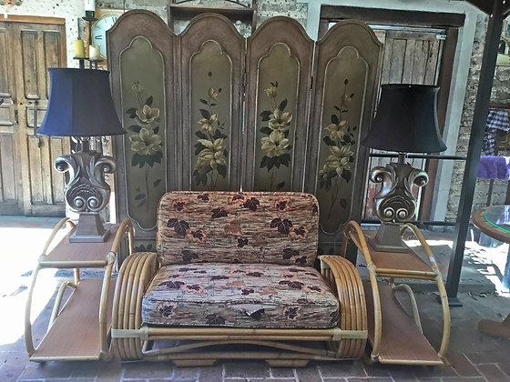 Vintage Pretzel  Design Rattan Loveseat & End Tables