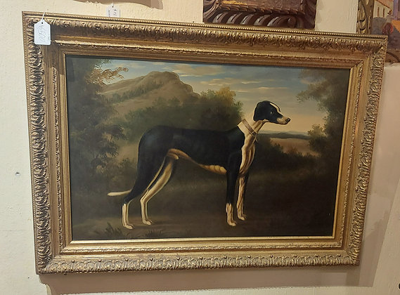 """Giclee Painting """"Greyhound"""",  Gold Frame. Good Condition"""