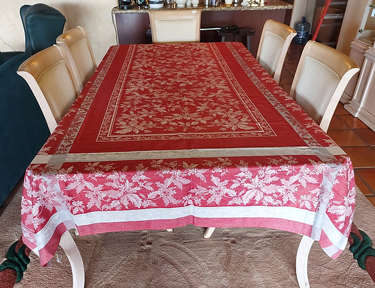 """Christmas Theme/Damask Table Cloth, Made in Russia, 70"""" x 144"""""""