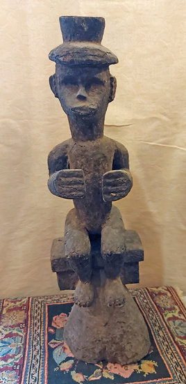 Seated-Gabon-Fang-Figure-Colonial Hat