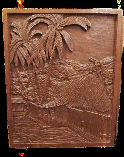 Original Roberto de la Selva Bas Relief Mahogany Panel, signed
