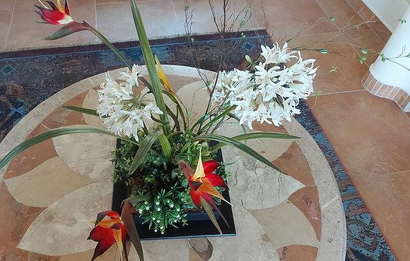 "Ikebana Centerpiece, Artificial Flowers, 16"" square base"