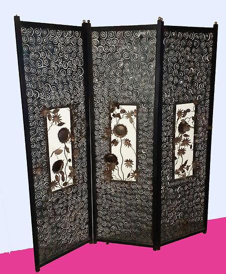 Artistic Sculptured Metal Folding Screen, 3 panels