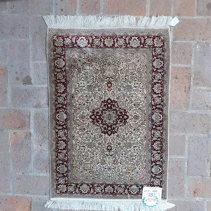Fine Silk Rug, Persian Design, 93cm by 64cm