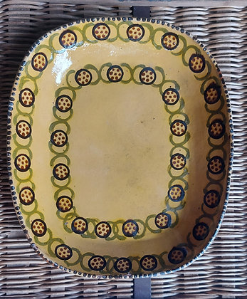 Vintage Mexican Pottery Deep Dish.  Serving Platter.