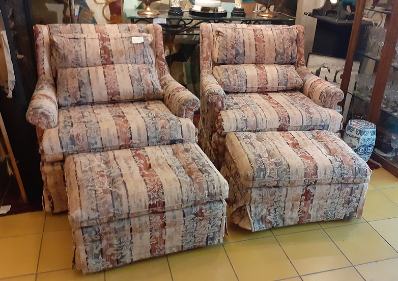 Pair of Comfy Arm Chairs w/ Footstools, Contemporary Fabric