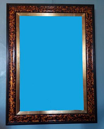 """Beveled Mirror in Tortoise Shell Design Frame, 35"""" by 47"""""""
