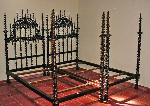 Portuguese-Carved-and-Turned-Twin-Beds