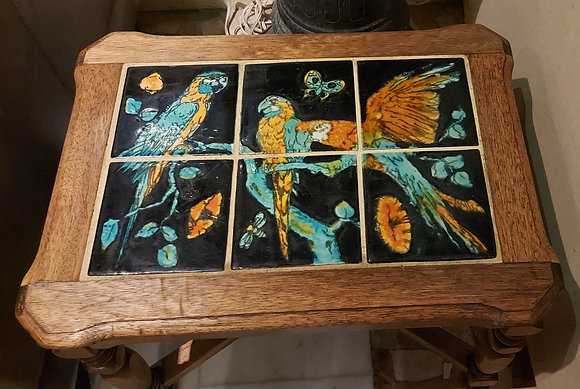 Catalina-tile-monterey-style-table-mohagany-macaw-birds