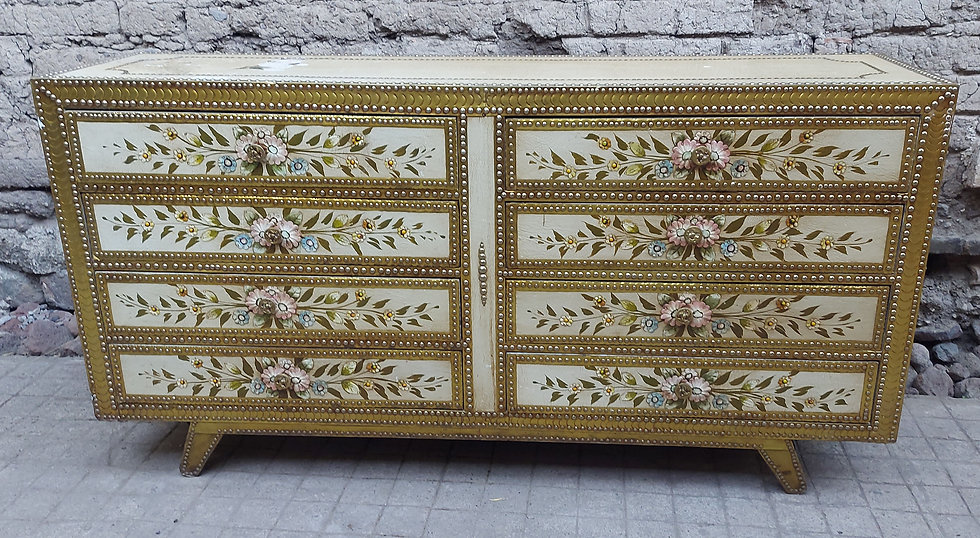 Vintage-tlaquepaque-8-drawer-dresser-hand-painted-leather