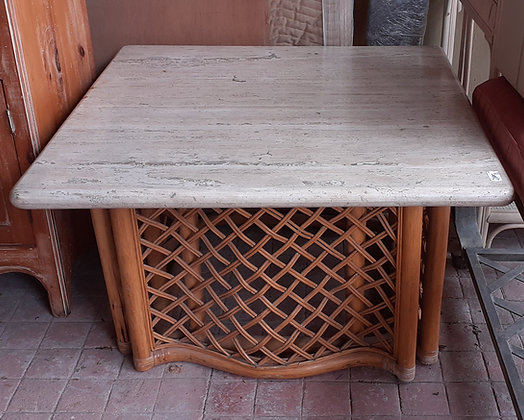 Marble Top Rattan End Table