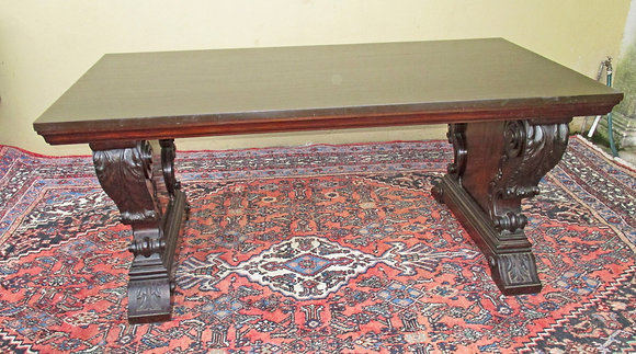 Cuban, Old Growth Mahogany, Library Table, Adolf Horn Estate