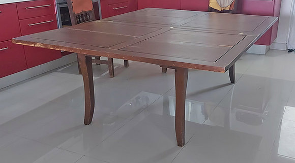 """Very Large Dining Room Table, folding top reduces it to 39"""" by 63"""""""