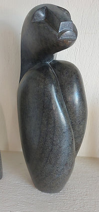 """Inuit Soapstone Carving,  N. W. Canada, 18"""" tall, Signed Sheren"""