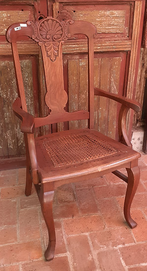 Carved Back Oak Office Chair