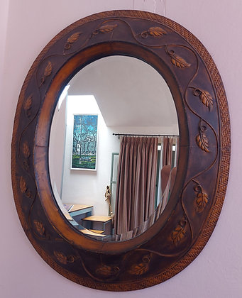 Oval Beveled Mirror, Decorative Metal Embossed Frame