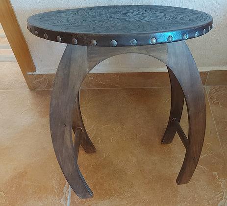 End Table, Tooled Leather Top, Artistic 'Horseshoe' Shaped Base