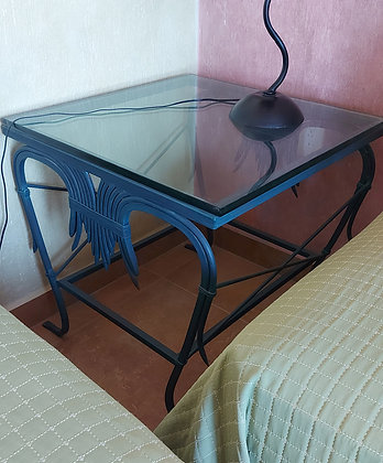 """Mexican Wrought Iron Lamp Table.  28"""" Square, 27"""" tall, 3/4"""" glass top"""