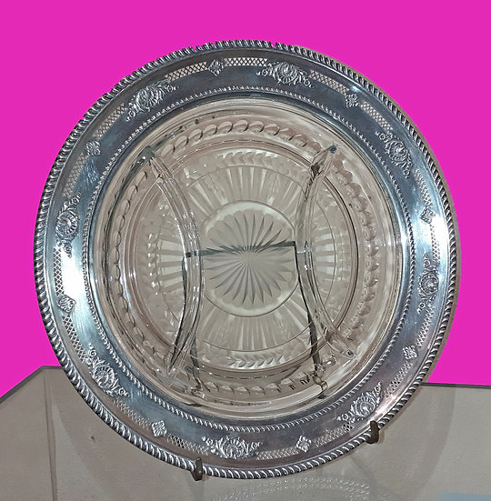 Cristal Plate with Sterling Rimmed