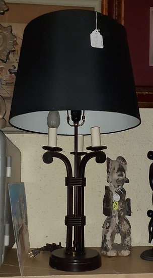 Pair of Iron Candelabra Style Table Lamps, Two Way Lighting