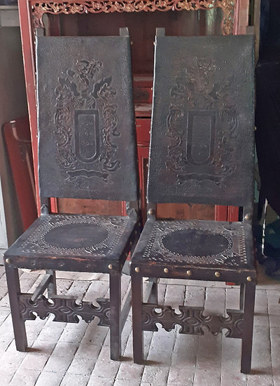 Mexican Tooled Leather Chair Set