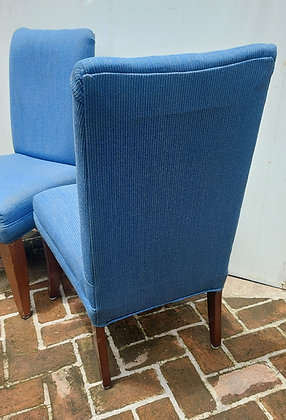 """Pair of Dining Room Chairs,  39"""" tall,  21"""" Seat, Blue Fabric"""