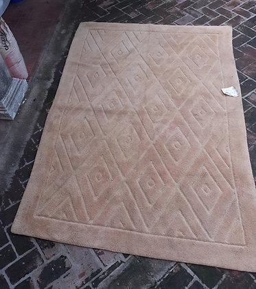 Mid-Century Hooked Rug, Diamond  Pattern