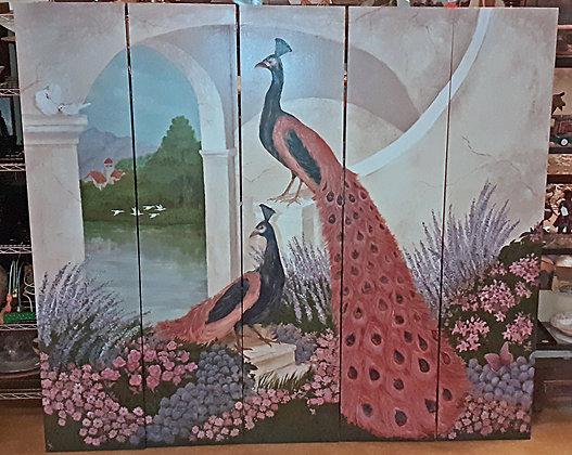 Peacocks Hand Painted 5 Panel Screen