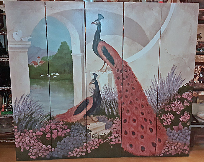 Peacocks Hand Painted 5 Panel Screen