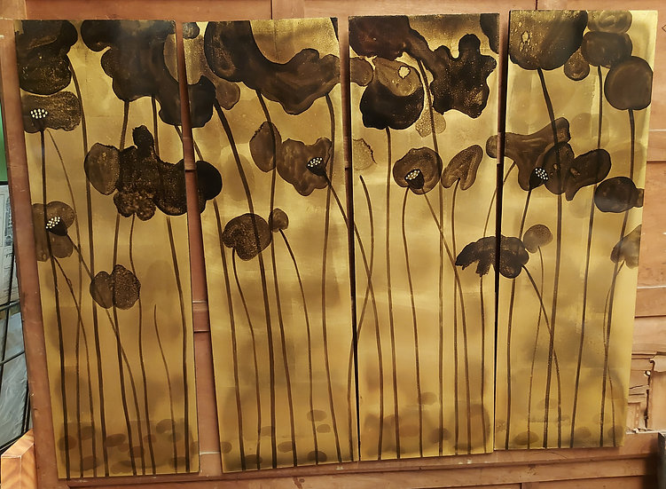 Asian-lacquer-screen-panels-queen-headboard