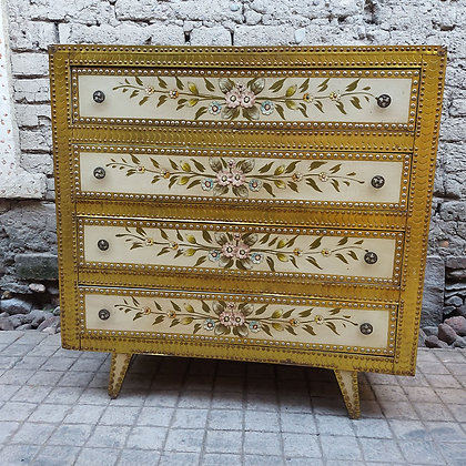 Hand-decorated-4-drawer-dresser-leather-top-metal-decorations