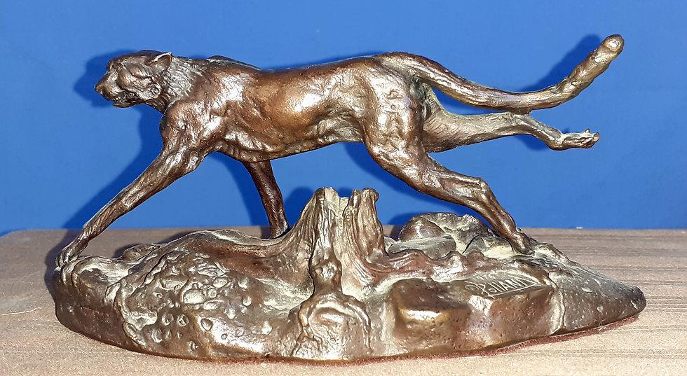 Cheetah Franklin Mint Figure Bronze