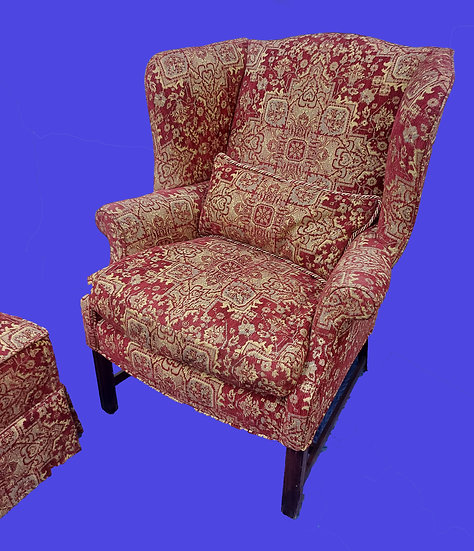 Pair of Fine Wingback Chairs w/ Footstools, Down Filled Cushions