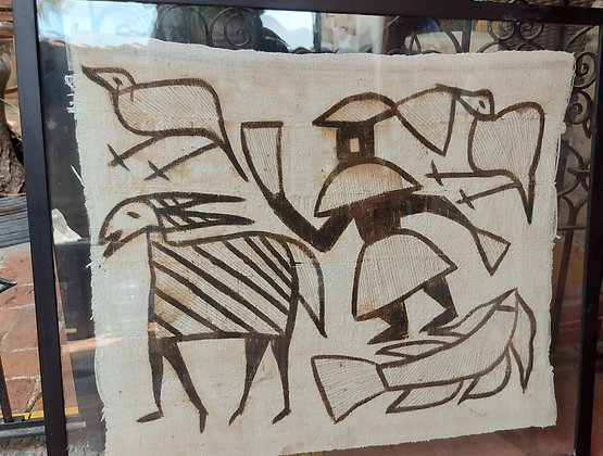 African Paintings on Hand Made Cloth, Fish and Antelope
