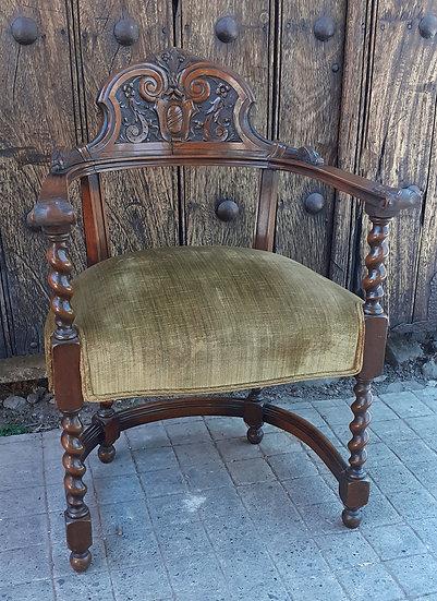 Carved Back Antique Barrel Chair