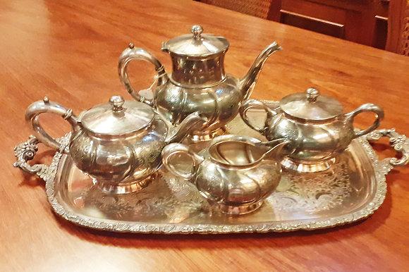 Antique Silver Plate 5 Pc. Tea Set, Southington C. Co. Chicago,Il